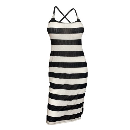 eVogues Plus size Crisscross Back Sheer Sleeveless Dress Stripe Print