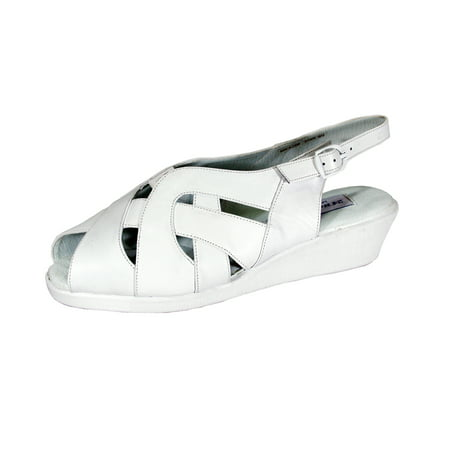 24 HOUR COMFORT Fran Women Wide Width Slingback Buckle Leather Wedge Sandals WHITE - White Leather Wedge