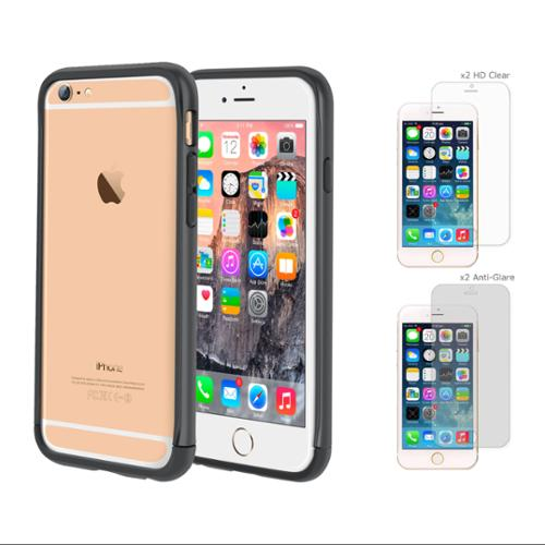 iPhone 6 Case Bundle (Case + Screen Protectors), roocase iPhone 6 4.7 Strio Bumper Open Back with Corner Edge Protection Case Cover with 4-Pack Screen Protector for Apple iPhone 6 4.7-inch, Gray