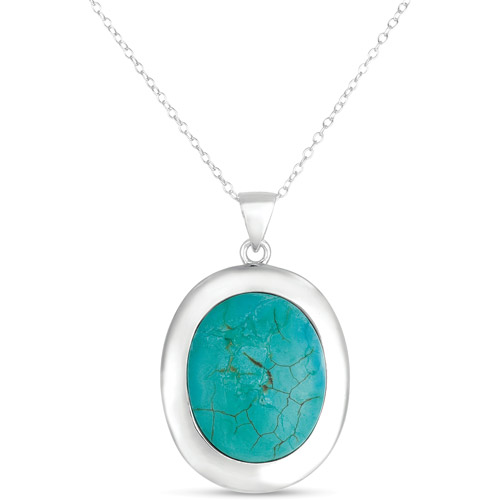 Turquoise Sterling Silver Oval Pendant, 18""