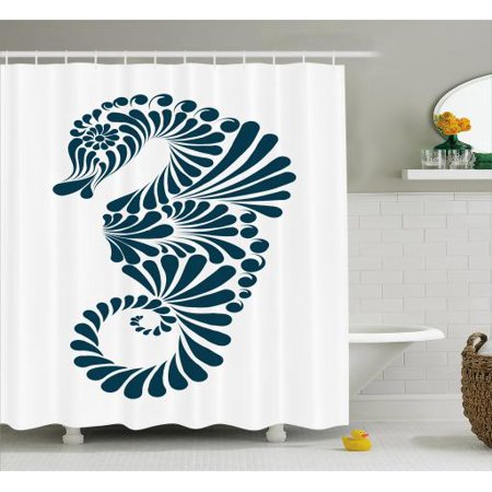 Seahorse Shower Curtain Abstract Graphic Image Designed With Curvy Geometric Forms Fabric Bathroom