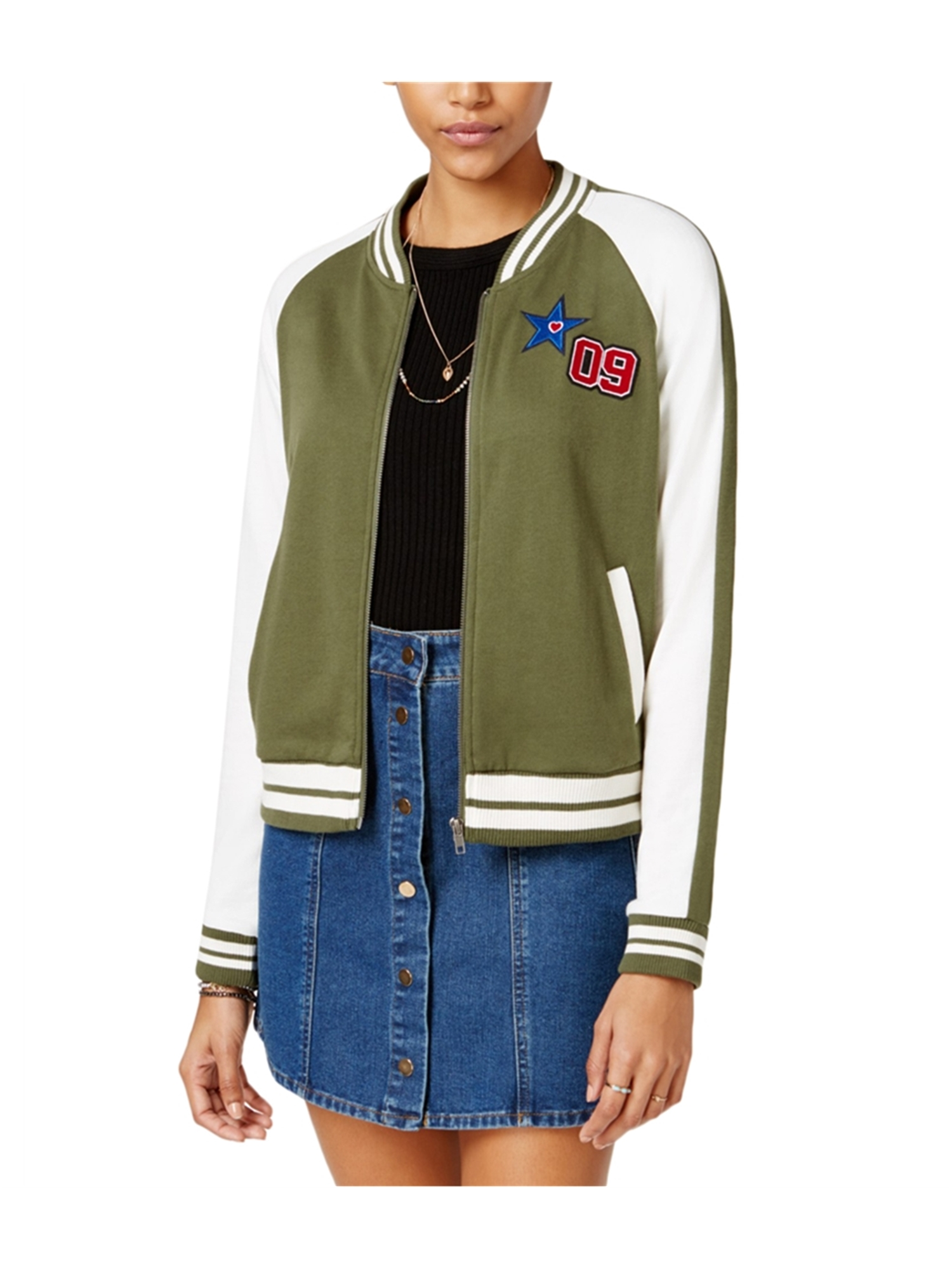 Almost Famous Womens Patch Knit Bomber Jacket olivecomb L - Juniors