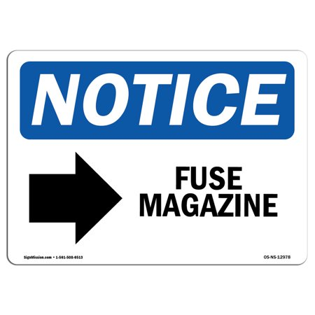 Gift Shop Magazine - OSHA Notice Sign - Fuse Magazine [Right Arrow] | Choose from: Aluminum, Rigid Plastic or Vinyl Label Decal | Protect Your Business, Construction Site, Warehouse & Shop Area |  Made in the USA