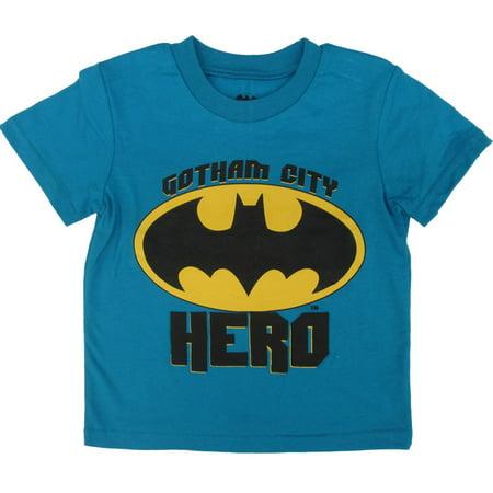 DC Comics Little Boys Blue Yellow Batman Short Sleeve Cotton T-Shirt