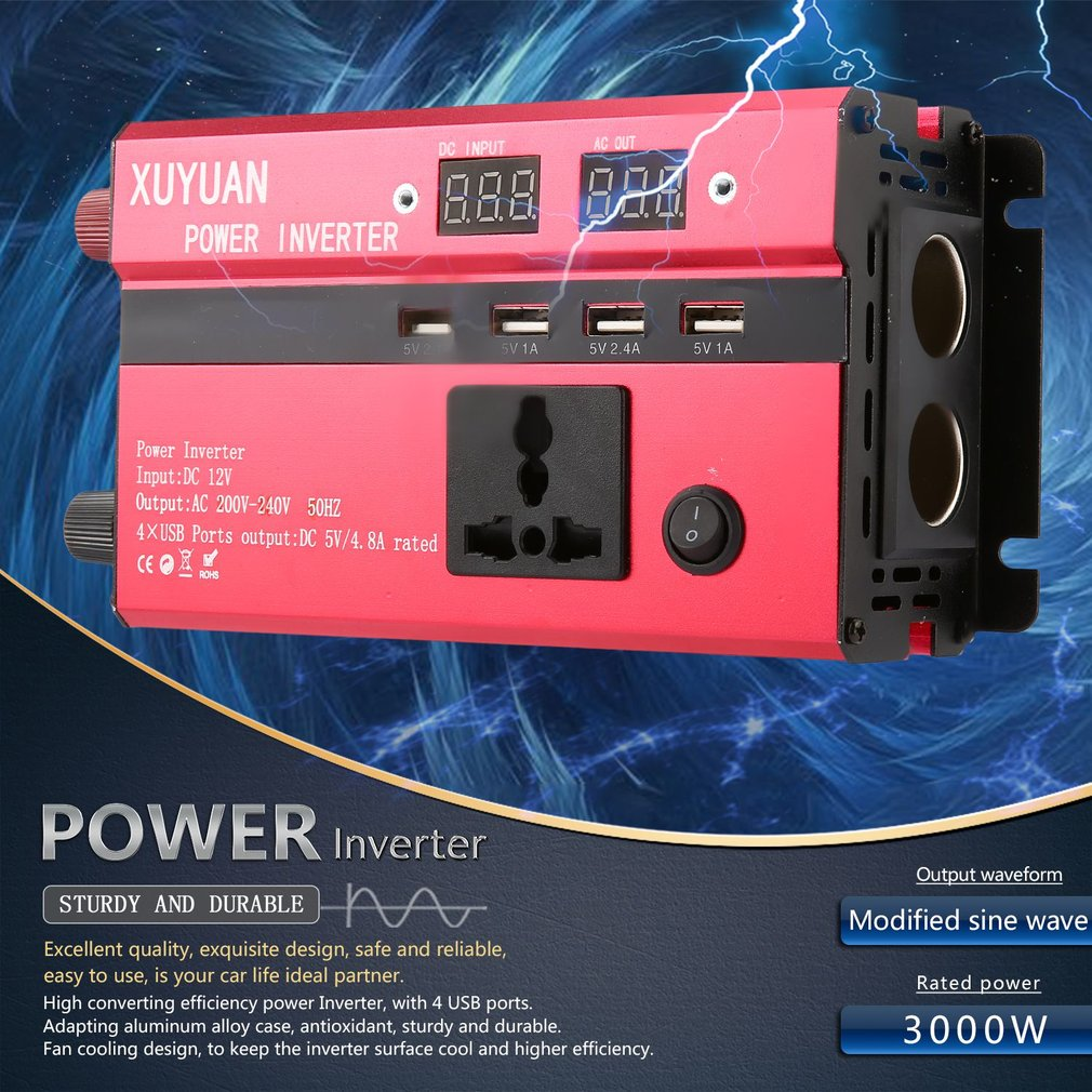 Professional 6000/W Solar Power Inverter DC 12/V to AC 220/V LED display car Sine Wave convertitore for Household Appliances