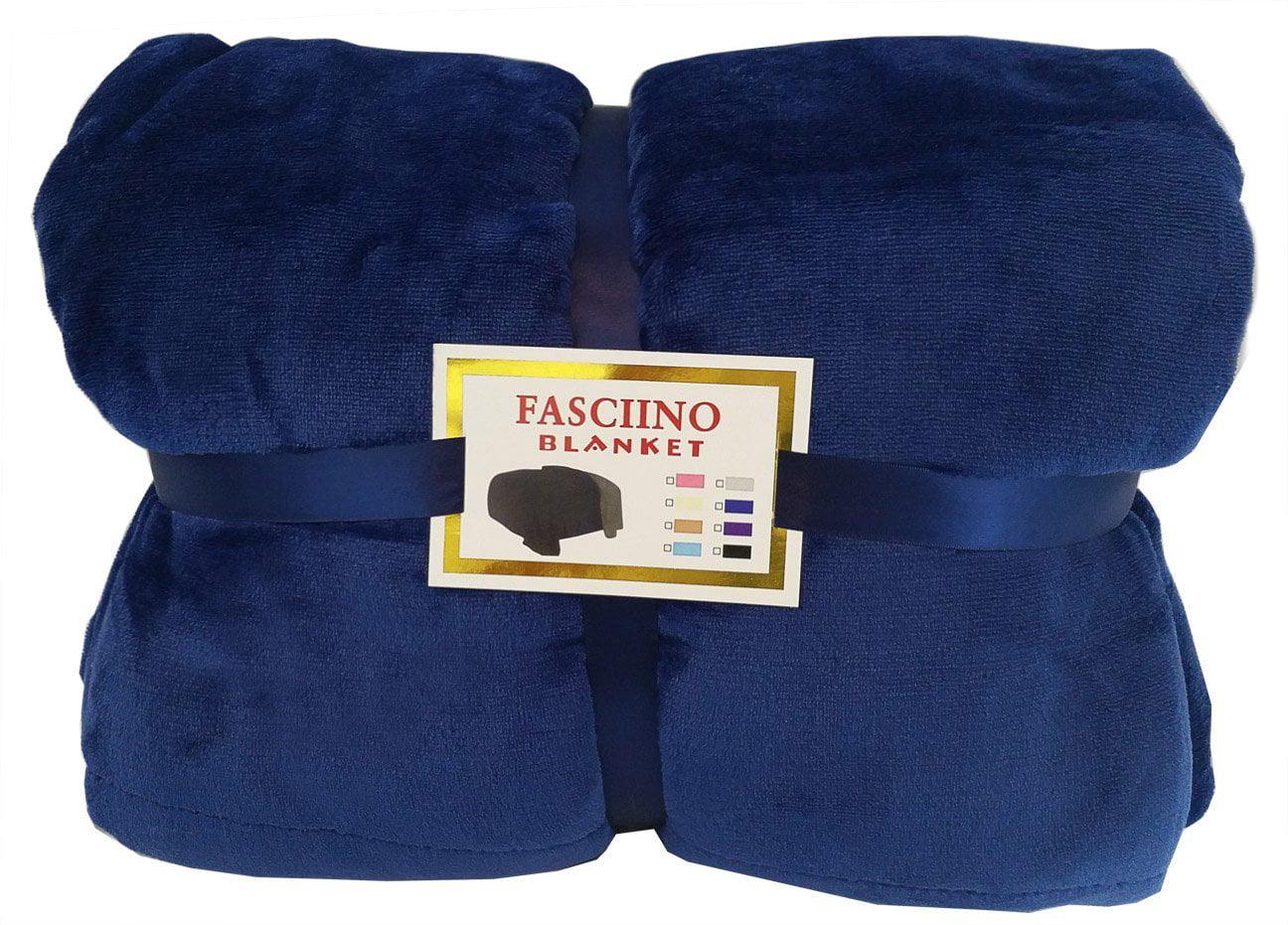 FASCIINO Super Soft Plush Reversible Velour Mink Borrego Blanket Throw Queen or Full Size... by