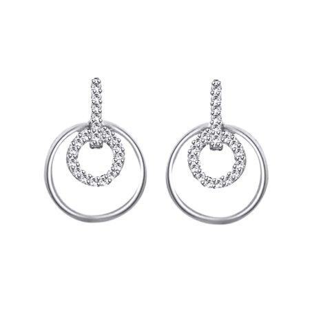 Round Cut Cubic Zirconia Drop Earrings In 14k White Gold Over Sterling Silver 0 30 Cttw