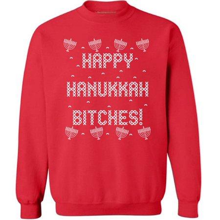 ugly christmas sweatshirt happy hanukkah btches ugly christmas sweater happy hanukkah jewish christian gifts holiday sweater - Christmas Sweaters Walmart
