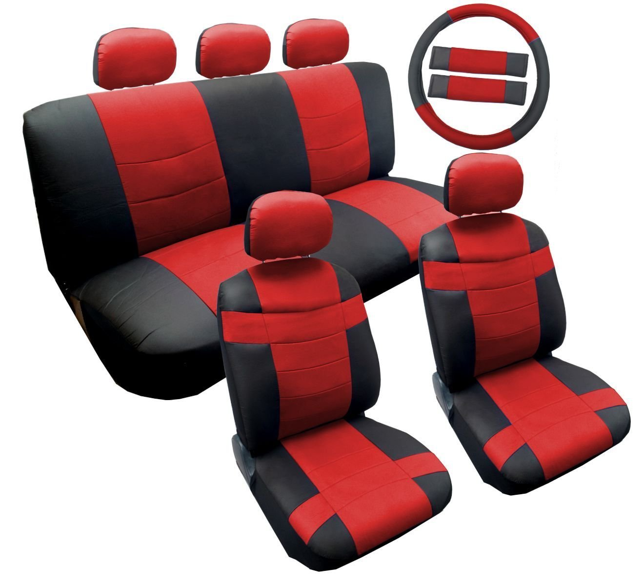 Sporty Two Tone Black/Red Synthetic PU Faux Leather Seat Cover Set 14pc Hyundai Accent