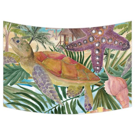 YKCG Sea Turtle Seashell Starfish Tropical Palm Tree Leaves Wall Hanging Tapestry Wall Art 90x60 inches
