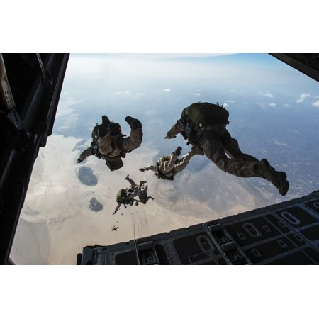 US Pararescuemen and US Marines jump from a HC-130 over Djibouti Canvas Art - Stocktrek Images (34 x 23)