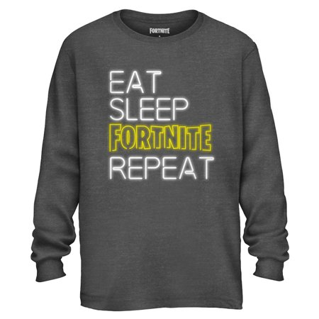 Fortnite Shirt Men's Eat Sleep Repeat Long Sleeve Officially Licensed Adult T-Shirt
