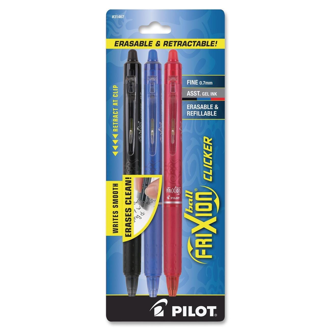 Pilot FriXion Ball Clicker Erasable Gel Ink Pen, Fine Point, Assorted Ink, 3-Pack