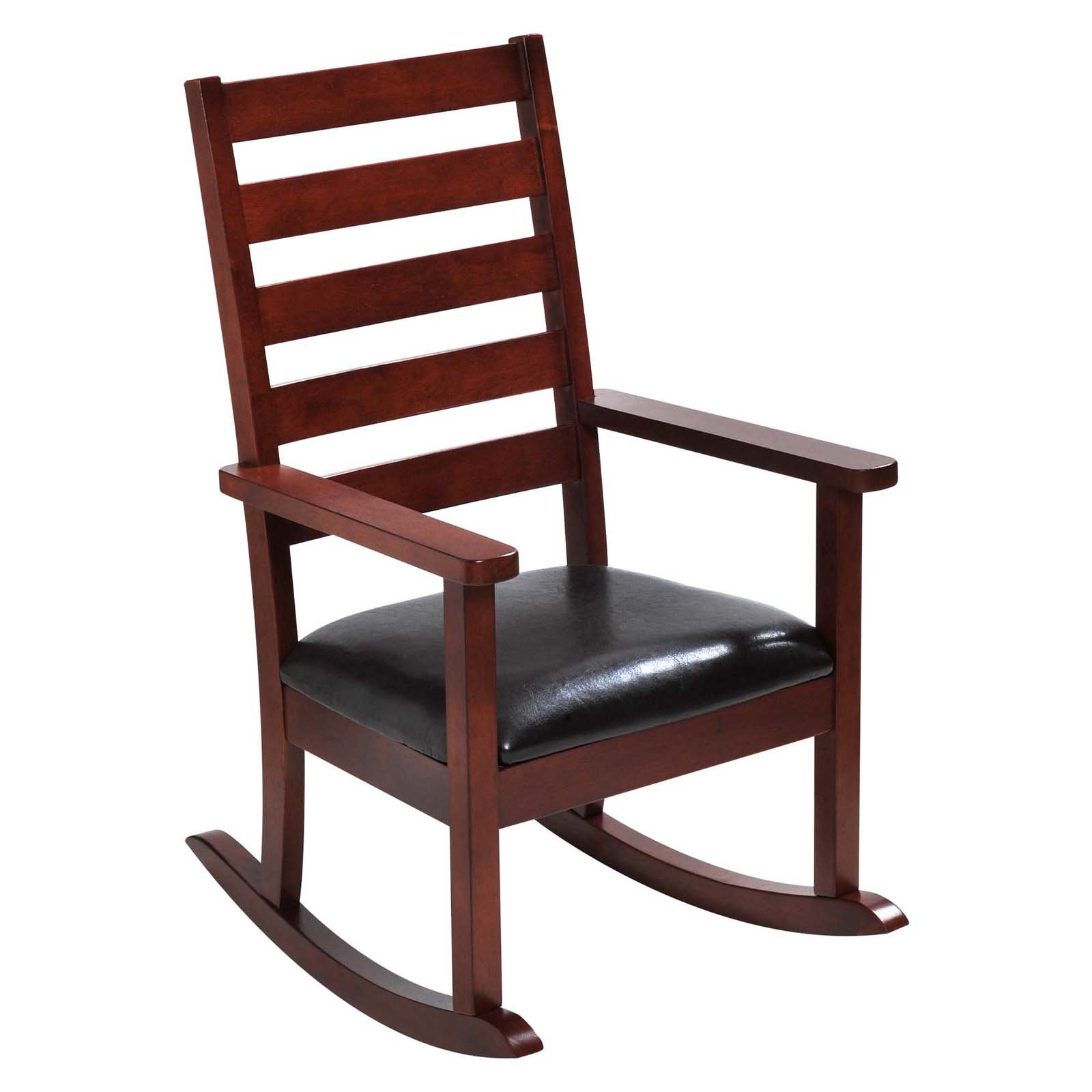 Mission Style Ladder Back Childrens Rocking Chair with Upholstered Seat (Cherry Color)