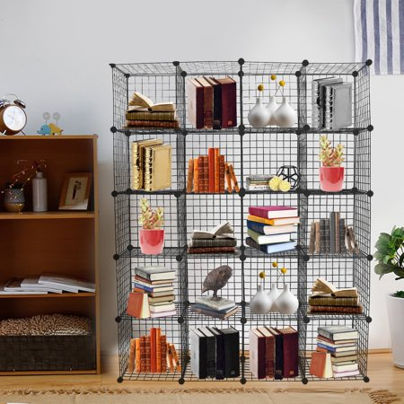 Multi Use Diy 20 Cube Wire Grid Organizer Bookcase Bookshelf Storage Cabinet