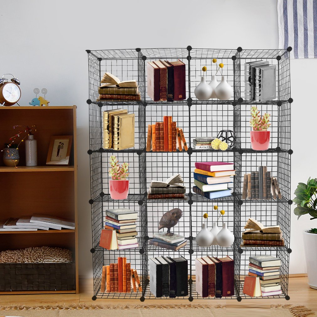 Storage Cubes Wire Grid Modular Metal Cubbies Organizer Bookcases And Book  Shelves Origami Multifuncation Shelving Unit