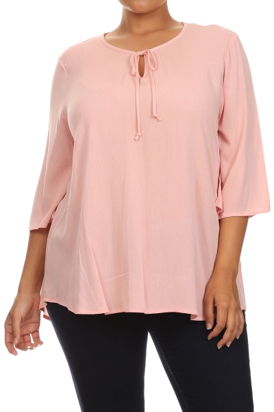 Women's PLUS trendy style 3/4 sleeve solid tunic top.