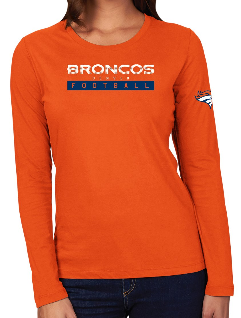 "Denver Broncos Women's Majestic NFL ""Never Rest"" Long Sleeve T-shirt by Majestic"