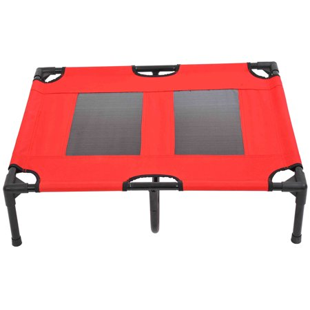 "31"" x 27"" Metal Frame Elevated Pet Bed Cot Dog Cat Camping Sleeper, Red and Black - image 7 de 7"