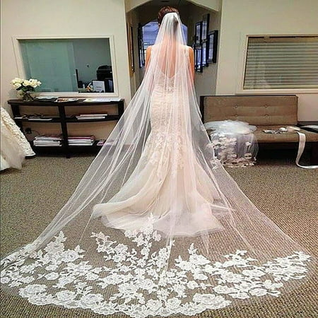 (Layers Wedding Bridal Veil Lace White/Ivory Cathedral Length Birdcag Edge Bride)
