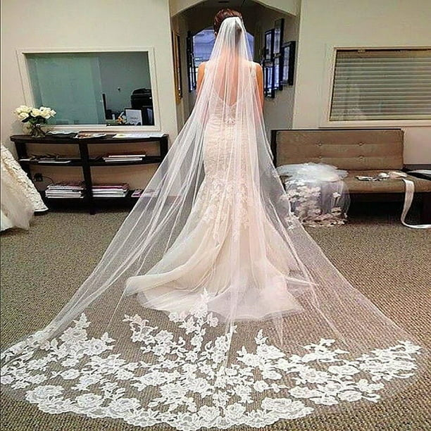Layers Wedding Bridal Veil Lace White Ivory Cathedral Length