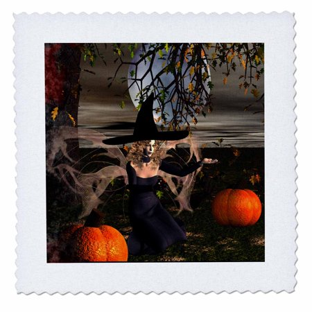 3dRose Midnight Halloween Fairy Witch - Quilt Square, 10 by 10-inch - Halloween Pops Quilt Kit