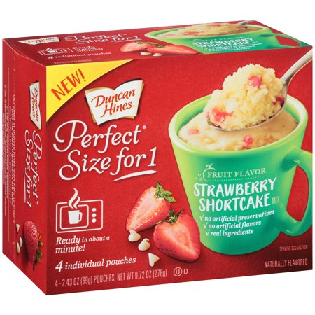 (6 Pack) Duncan Hines Perfect Size for One Fruit Flavor Strawberry Shortcake Cake Mix 4-2.43 oz