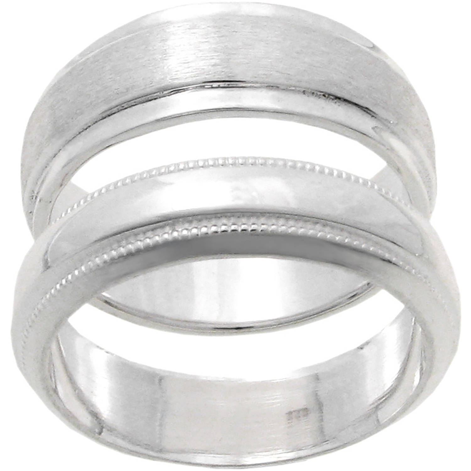 Brinley Co. Women's Sterling Silver Satin Finish Ring Set, 2 Bands