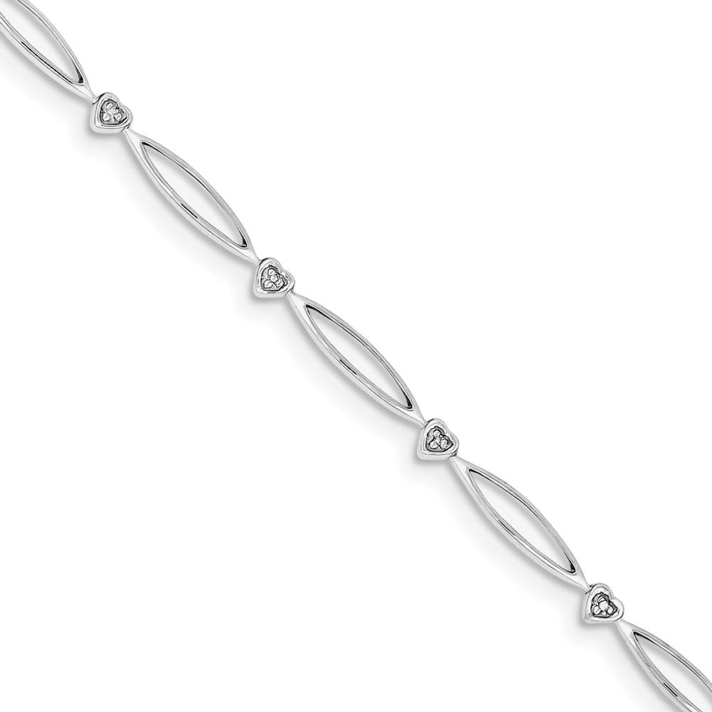 Sterling Silver Diamond Bracelet. Carat Wt- 0.03ct