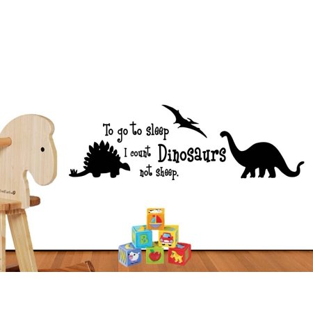 To go to sleep I count dinosaurs cute hearts playroom sticker nursery vinyl saying lettering wall art inspirational sign wall quote decor Decal - Dinosaur Wall Decor