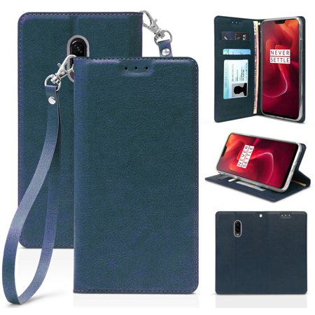 sale retailer 70a88 8d94e OnePlus 6T Case, New Folio Leather Wallet Credit Card Slot ID Cover, View  Stand [with Subtle Magnetic Closure and Wrist Strap Lanyard] for T-Mobile  ...