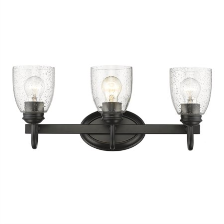- Beaumont Lane 3 Light Bath Vanity in Black with Seeded Glass