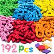 192 Pcs Magnetic Letters Numbers 9 Color(With Pattern Blocks,Symbols) Foam Set, Alphabet Magnets Gift for Preschool Kids Children Toddler Educational Fridge Refrigerator Toy, Classroom Sch