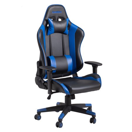 GameRider Navigator Ergonomic Reclining Racer Style PC Gaming Chair, High Back Office Chair with Headrest and Lumbar Support, Blue/Black