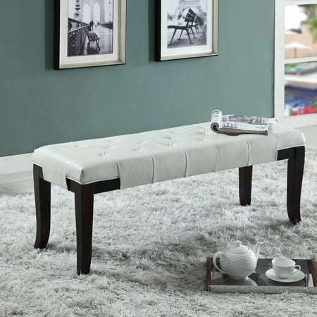 Roundhill Furniture Linon Leather Tufted Bench Multiple Colors