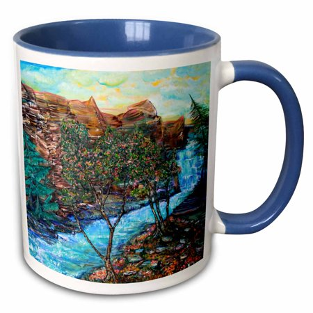 3dRose Magnificent view of Stony Brook Park Upstate NY The trail alongside the river is icing on the cake - Two Tone Blue Mug,