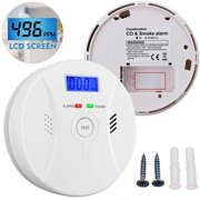 Carbon Monoxide and Smoke Alarm, Smoke Detector and Carbon Monoxide Detector with LCD Display Battery Operated High Precision Detector