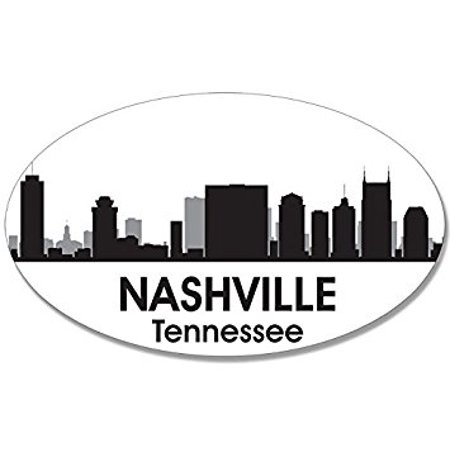 Oval B/W SKYLINE of NASHVILLE Sticker Decal (city tn tenn decal) Size: 3 x 5 inch](Party City In Nashville Tn)
