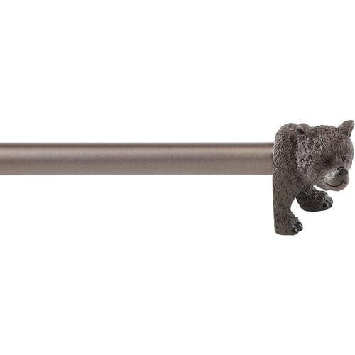 Mainstays Brown Bear Finial Curtain Rod Set