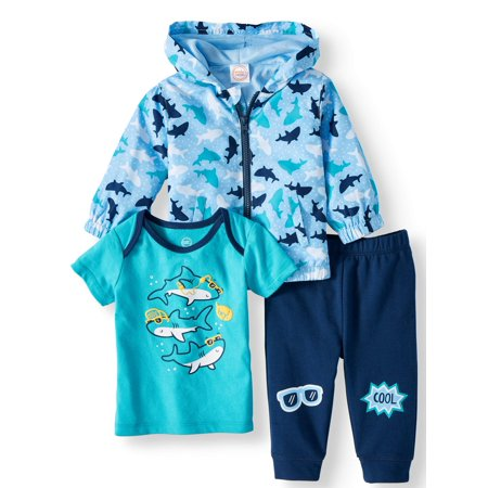 Windbreaker Jacket, Short Sleeve T-shirt & Jogger Pants, 3pc Outfit Set (Baby - Pebbles Outfit