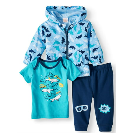 Windbreaker Jacket, Short Sleeve T-shirt & Jogger Pants, 3pc Outfit Set (Baby Boys) - Dark Angel Outfits