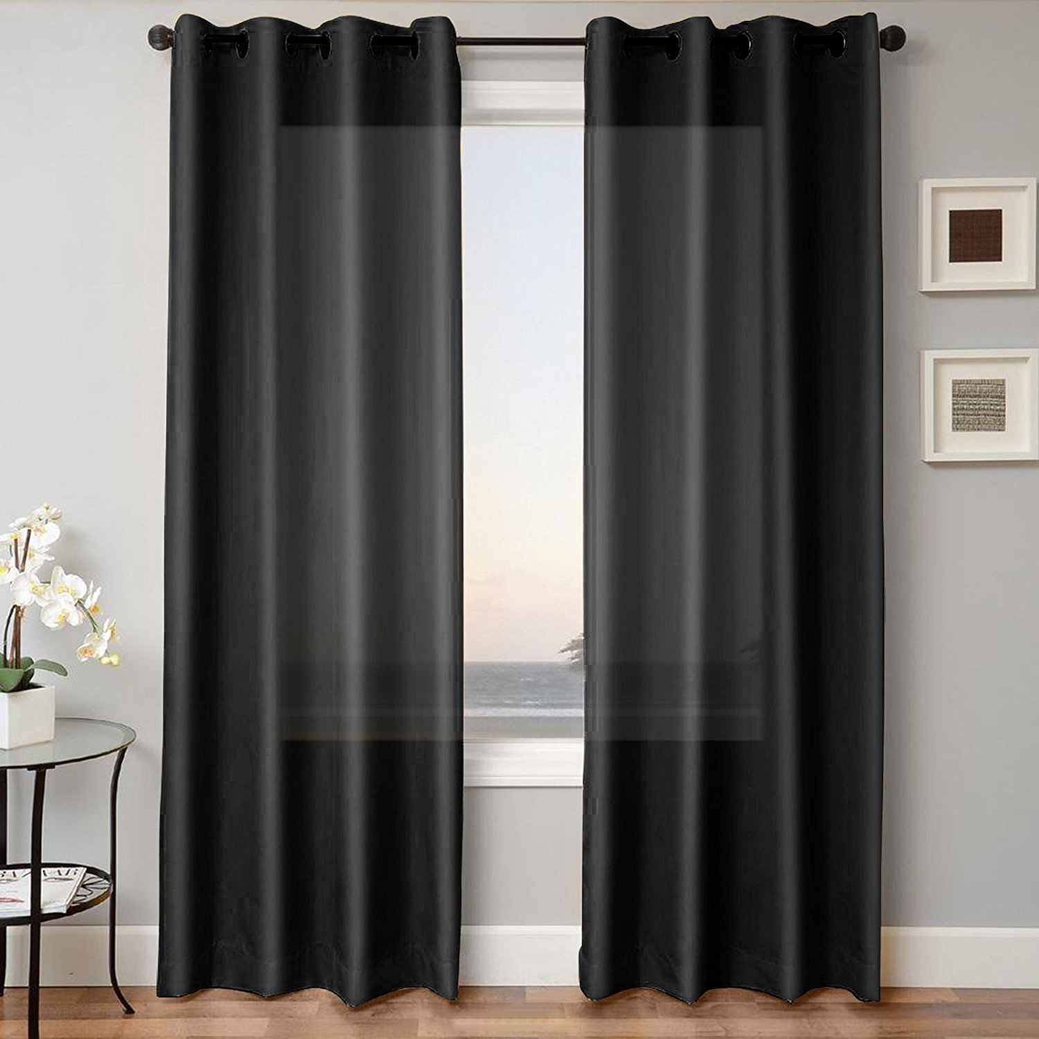 "1 PANEL MIRA  SOLID BLACK SEMI SHEER WINDOW FAUX SILK ANTIQUE BRONZE GROMMETS CURTAIN DRAPES 55 WIDE X 63"" LENGTH"