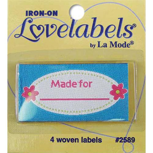 Iron-On Lovelabels 4/Pkg-Made For -Pink Flowers