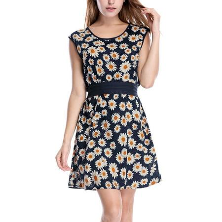 Women's Allover Print Belted Short Dress Blue (Size XL / 16) ()