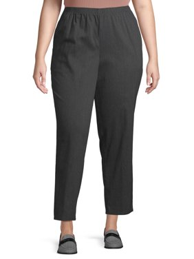 Just My Size Womens Plus Size 2 Pocket Pull on Stretch Woven Pants, Available in Regular and Petite