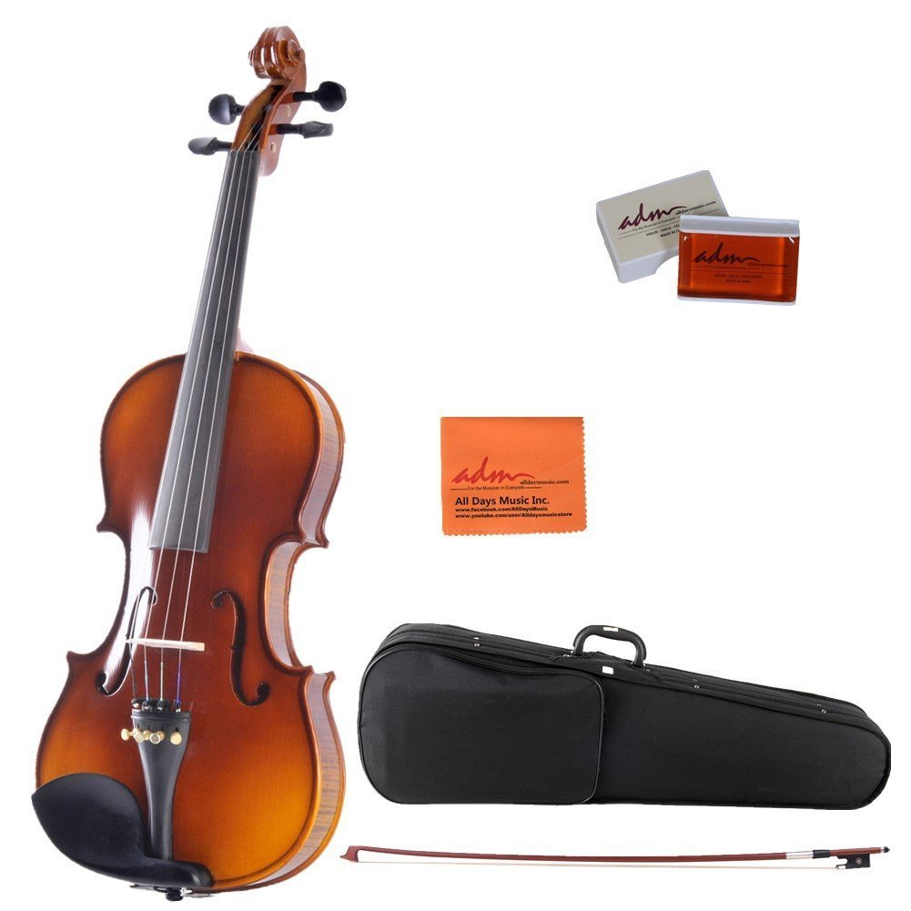 ADM 4 4 Full Size Ebony Fitted Solid Wood Starter Violin Outfit for Beginners, Natural by Adm