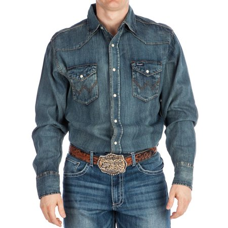4d40892c388 Wrangler - Mens Denim Work Shirt - Walmart.com