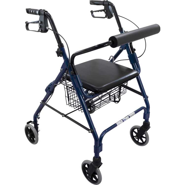 Rollator With Padded Seat Blue
