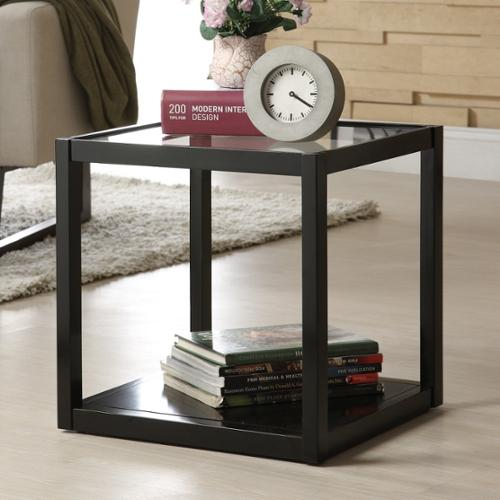 Roundhill Furniture Stackable Multifunction Black Wood And Glass Display  Shelf/End Table, 1 Cubic