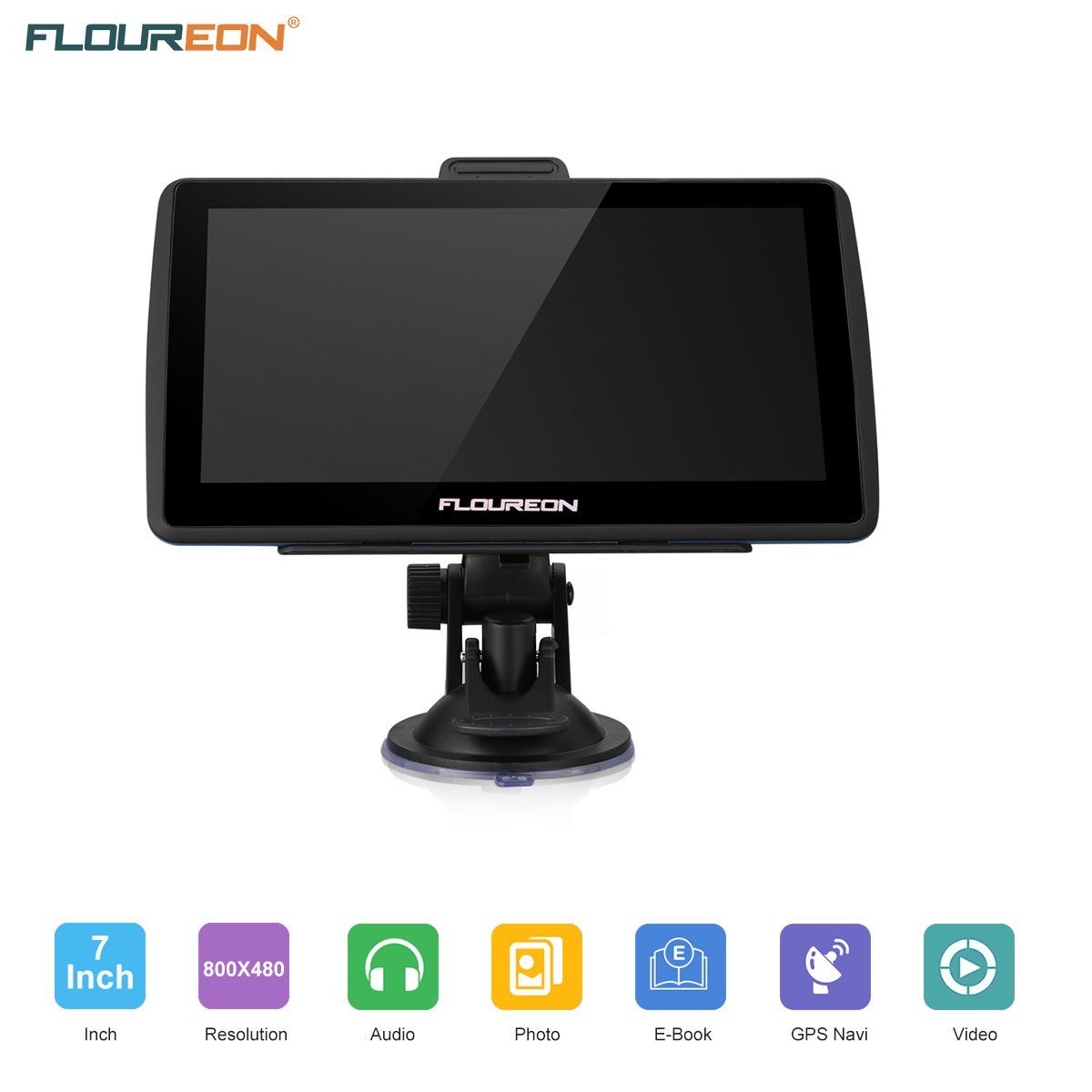 Floureon Handsfree GPS Navigation for Car, 7 inch 8GB Touchscreen Voice Reminding Vehicle GPS Navigator System Free Lifetime Map Update with Car Charger, back Bracket, Mount